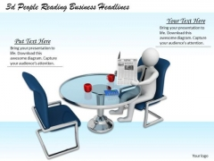 Business Strategy Plan Template 3d People Reading Headlines Concepts
