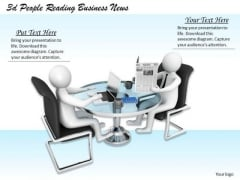 Business Strategy Plan Template 3d People Reading News Concepts