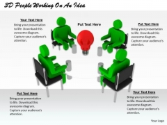 Business Strategy Plan Template 3d People Working On Idea Character Modeling