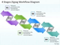 Business Strategy Planning 4 Stages Zigzag Workflow Diagram Project Management Ppt Slide