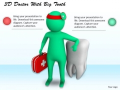 Business Strategy Process 3d Doctor With Big Tooth Character Models