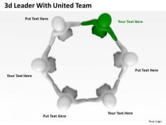 Business Strategy Process 3d Leader With United Team Adaptable Concepts