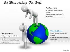 Business Strategy Process 3d Man Asking For Help Adaptable Concepts