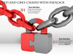 Business Strategy Red And Grey Chains With Padlock Security Concept Images