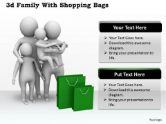 Business Strategy Review 3d Family With Shopping Bags Basic Concepts