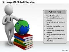 Business Strategy Review 3d Image Of Global Education Character Models
