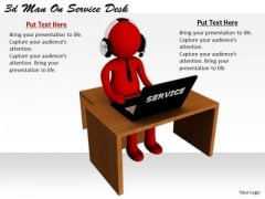 Business Strategy Review 3d Man On Service Desk Character Models