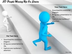 Business Strategy Review 3d People Moving Up On Stairs Character