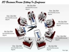 Business Strategy Review 3d Person Sitting Conference Character Modeling