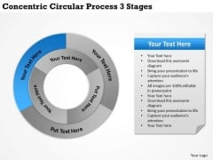 Business Strategy Review Concentric Circular Process 3 Stages Ppt Level