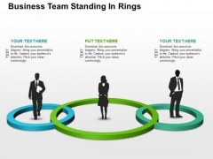 Business Team Standing In Rings PowerPoint Templates