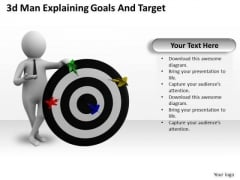 Business Unit Strategy 3d Man Explaining Goals And Target Characters