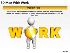 Business Use Case Diagram 3d Man With Work PowerPoint Slides