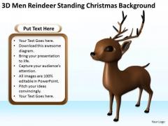 Business Use Case Diagram 3d Men Reindeer Standing Christmas Theme PowerPoint Templates