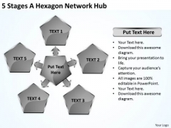 Business Use Case Diagram 5 Stages Hexagon Network Hub PowerPoint Templates