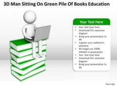 Business Use Case Diagram Example Man Sitting On Green Pile Of Books Education PowerPoint Templates