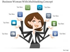 Business Woman With Multitasking Concept PowerPoint Template