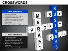 Buy Sell Profit Market Crosswords PowerPoint Slides