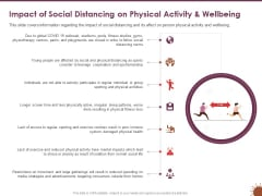 COVID 19 Effect Risk Management Strategies Sports Impact Social Distancing Physical Activity Wellbeing Icons PDF