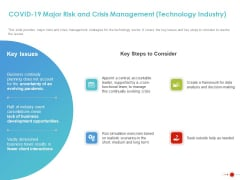 COVID 19 Mitigating Impact On High Tech Industry COVID 19 Major Risk And Crisis Management Technology Industry Demonstration PDF