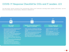 COVID 19 Mitigating Impact On High Tech Industry COVID 19 Response Checklist For Cios And IT Leaders Graphics PDF