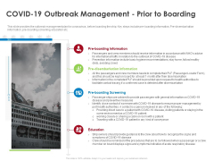 COVID 19 Risk Analysis Mitigation Policies Ocean Liner Sector COVID 19 Outbreak Management Prior To Boarding Graphics PDF