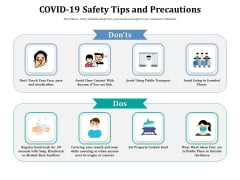 COVID 19 Safety Tips And Precautions Ppt PowerPoint Presentation Diagram Templates PDF