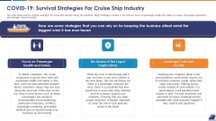 COVID 19 Survival Strategies For Cruise Ship Industry Infographics PDF
