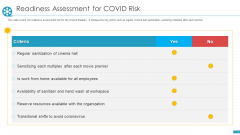 COVID Business Survive Adapt Post Recovery Strategy Cinemas Readiness Assessment For Covid Risk Clipart PDF