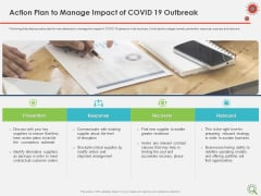 COVID Implications On Manufacturing Business Action Plan To Manage Impact Of COVID 19 Outbreak Background PDF
