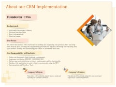 CRM Consulting About Our CRM Implementation Ppt Model Tips PDF