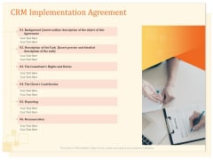 CRM Consulting CRM Implementation Agreement Ppt Outline Ideas PDF