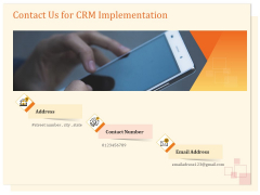 CRM Consulting Contact Us For CRM Implementation Ppt Infographic Template Outline PDF