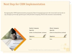 CRM Consulting Next Step For CRM Implementation Ppt Gallery Files PDF