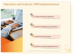 CRM Consulting Objectives And Goals For CRM Implementation Ppt Summary Guide PDF
