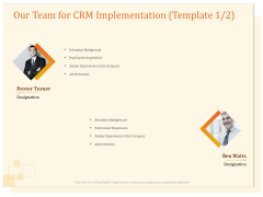 CRM Consulting Our Team For CRM Implementation Ppt Icon Deck PDF