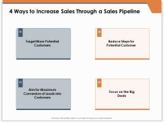 CRM For Real Estate Marketing 4 Ways To Increase Sales Through A Sales Pipeline Ppt PowerPoint Presentation Model Slides PDF