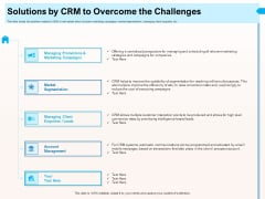 CRM For Realty Properties Solutions By CRM To Overcome The Challenges Ppt Summary Graphics PDF