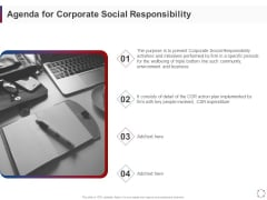 CSR Activities Company Reputation Management Agenda For Corporate Social Responsibility Ppt Layouts Outfit PDF