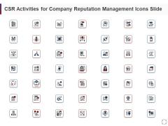 CSR Activities Company Reputation Management Icons Slide Information PDF