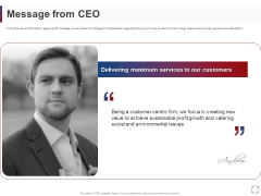 CSR Activities Company Reputation Management Message From CEO Ppt File Summary PDF