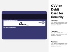 CVV On Debit Card For Security Ppt PowerPoint Presentation Pictures Background Images
