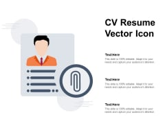 CV Resume Vector Icon Ppt PowerPoint Presentation Infographics Gallery PDF