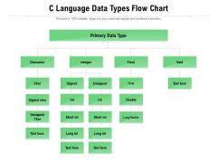 C Language Data Types Flow Chart Ppt PowerPoint Presentation File Slide Portrait PDF