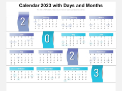 Calendar 2023 With Days And Months Ppt PowerPoint Presentation Gallery Smartart PDF