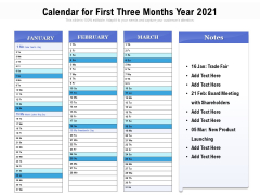 Calendar For First Three Months Year 2021 Ppt PowerPoint Presentation Professional Summary PDF