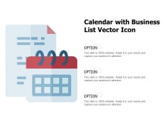 Calendar With Business List Vector Icon Ppt PowerPoint Presentation Summary Design Templates