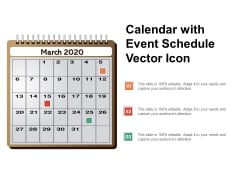 Calendar With Event Schedule Vector Icon Ppt PowerPoint Presentation Summary Sample PDF