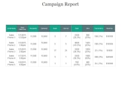 Campaign Report Ppt PowerPoint Presentation Professional