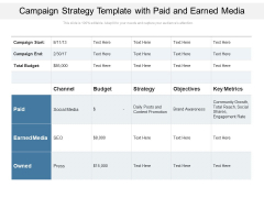 Campaign Strategy Template With Paid And Earned Media Ppt PowerPoint Presentation Gallery Portfolio PDF